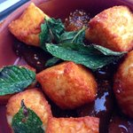 Fried feta with fig jam and mint