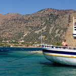 view from boat at Spinalonga jetty looking over to Crete