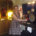 Lesley takes a moment to pose in the kitchen ...