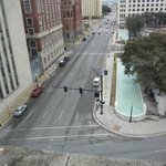 A view of the corner of houston and Elm from the 7th floor window