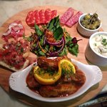 The Pack Sharing platter ... Selection of D.O.P. Salami's, Greek olives, Garlic mushrooms, Brusc