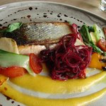 Main: Sea Trout and amazing garnish. Outstanding