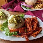 Jalepeno swiss burger with sweet potato fries