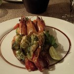The grilled prawns