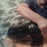 antico, originale bottiglione con digestivo alla liquirizia