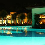 Main pool and restaurant at night