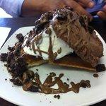 waffle with bounty and chocolate ice cream and brownie chunks