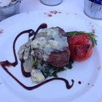 Steak with cheese sauce