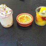Tiramisu, creme brulee, fruit salad