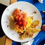 The most delicious smoked salmon and scrambled eggs.