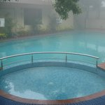 swimming pool in foggy weather