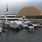 Looking towards the hotel from the marina