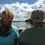 Cruising on the Amazon w our Guide at the helm! Amazing!!
