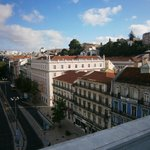 View toward Tagus River and Bairro Alto from hotel restaurant patio