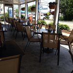 Outside patio overlooking the Hyannis Harbor