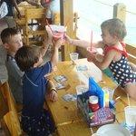 Kids enjoying virgin Strawberry Daiquires at Fat Tuesday Bahamas
