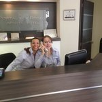 Front desk ladies, notice the smiles!