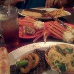 Sirloin & Crab Legs Spinach Pasta