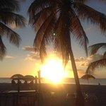 sunset at beach bar