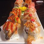 Another shot of our rolls. The left had avocado, eel, and salmon and the right had spicy crab, s