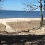 Picture from spring 2011.  Looking from one of the walking trails, at Lake Michigan.  Steep hill