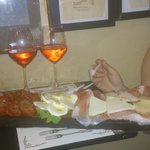 Our meat and cheese platter and some lovely house rose