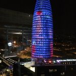 Torre Agbar seen from the rooftop bar of the hotel.