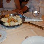 especially arranged desert: cooked fruits wth ice cream