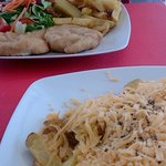 Chicken escalopes and chips and cheese