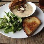 chowder, grilled cheese, arugula salad