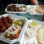 Falafel plate and shawarma plate