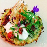 Courgette, chocolate, burnt apple , goats cheese , dried strawberry