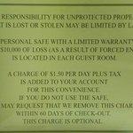 Sign Describing Safe Fee