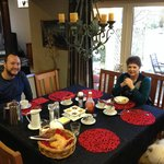 Julia eating breakfast with us