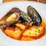 Hake with Romesco and Mussels
