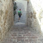 Steep stone steps