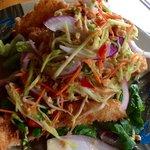 Crispy Opaka with Green a Mango Salad