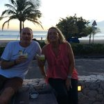 Enjoying our sunset drinks with the amazing beach view from poolside/bar area.