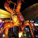 Giant lobster at seafood market entrance