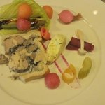 starter country pate with pickled vegetables advocado and melon