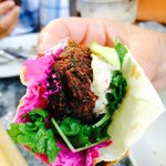 Spinach Falafel, Tahini Sauce, Beet Yogurt & Cress