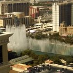 Bellagio fountains from room at Vdara