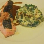 trout with herbs and risotto with green vegetables