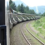 View of Rocky Mountaineer heading to Kamloops