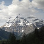 Mt Robson 3,950 m in the Canadian Rockies from the Rocky Mountaineer heading to Jasper