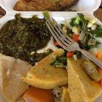Coco ,fish ,Callao dumpling and veggies.