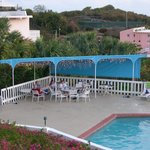 Pool deck adjacent to beautiful condos on the hill above Secret Harbor, St Thomas