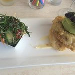 Tempura barramundi which was served with a miso emulsion, avocado wasabi mousse and wakame salad