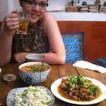noodle soup, hani-pork, and lime chicken salad
