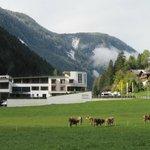 Вид на отель из поселка